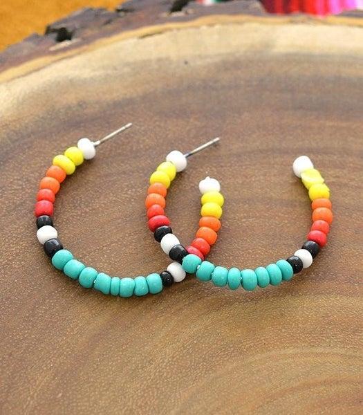 Southwest Bead Hoop Earrings