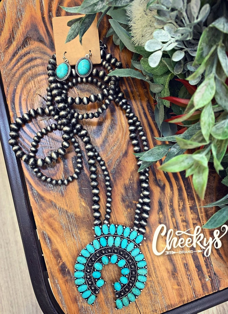 Cheeky's Eliza Turquoise Squash Blossom with Navajo Beads
