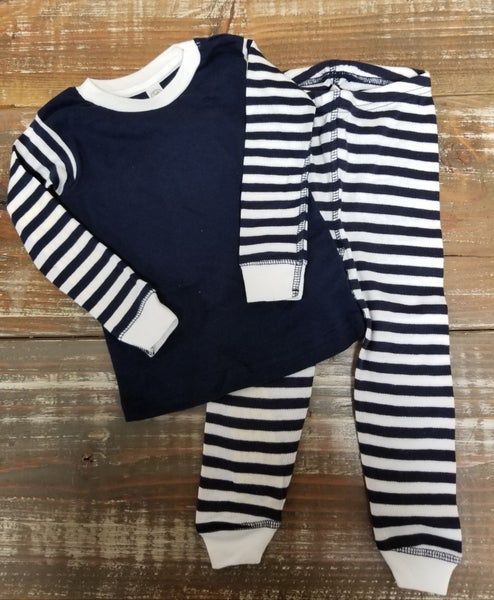 Navy Stripe Infant/Toddler PJ Set