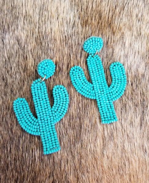 Turquoise Bead Cactus Earrings