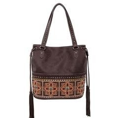 Montana West Embroidered Collection Concealed Carry Tote- Coffee