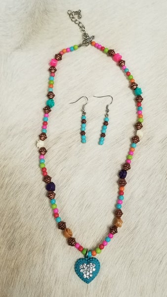 Girls Turquoise Heart Necklace and Earring Set