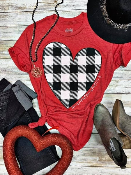 Love is Patient Love is Kind White Plaid Heart