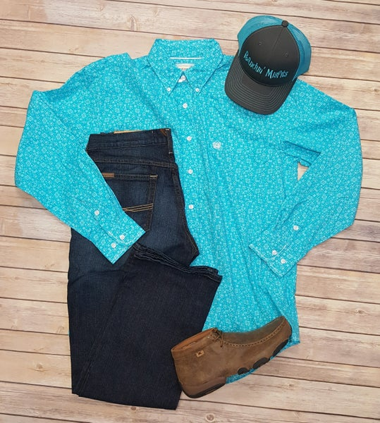 Panhandle Men's Turquoise Roughstock Shirt