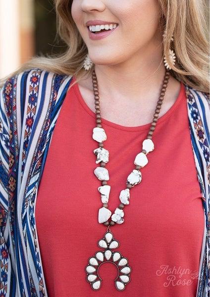 Stone & Horseshoe Squash Blossom Necklace