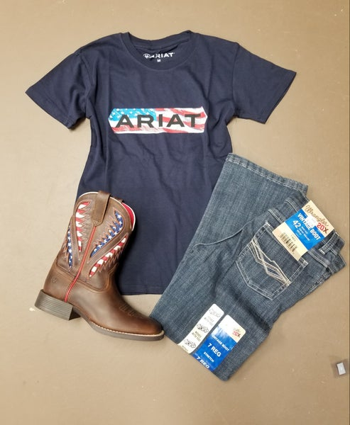Ariat Youth Navy Flag Tee