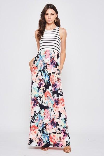 Magic Stripe Floral Maxi Dress