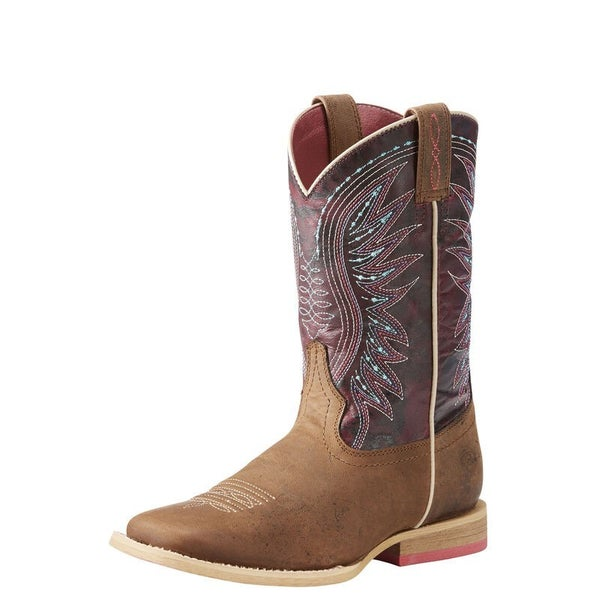 Ariat Youth Vaquera Weathered Brown/Sunset Purple Boots
