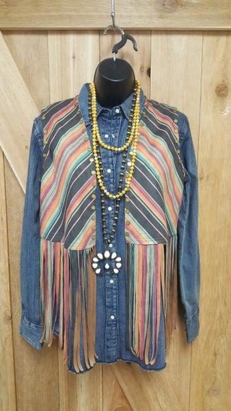 Serape Aztec Fringe Vest
