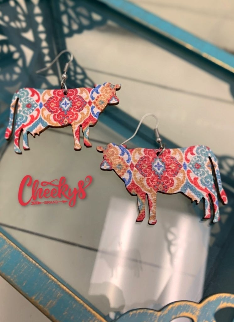 Cheeky's Country Cow Wooden Earrings