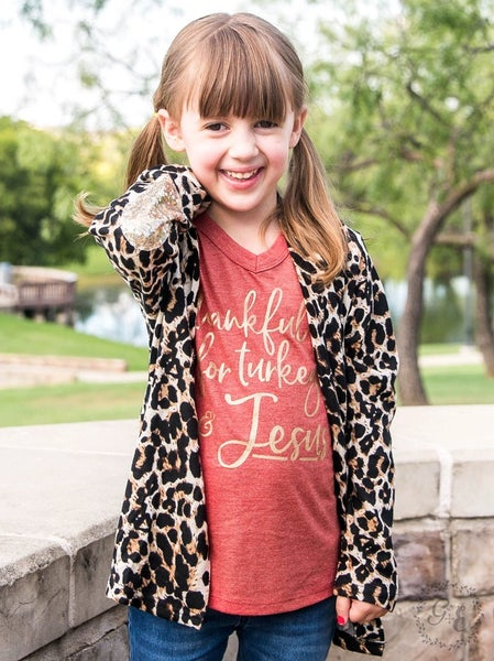 Girls Leopard Cardigan with Sequin Elbow Patch