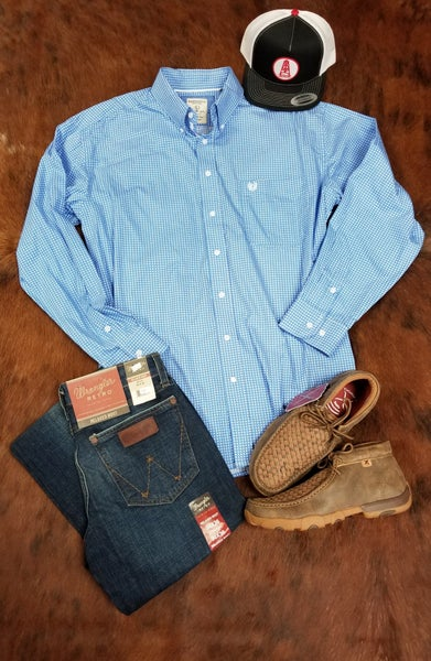 Panhandle Men's French Blue Long Sleeve Shirt