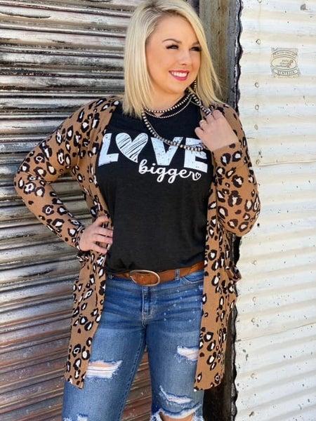 Camel Leopard Sweater Cardigan