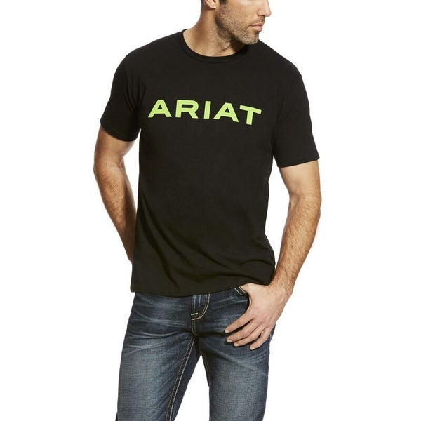 Ariat Men's Black and Lime Branded T-Shirt