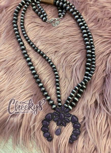 Roselynn Squash Blossom Necklace With Eggplant Stones and Navajo Pearls