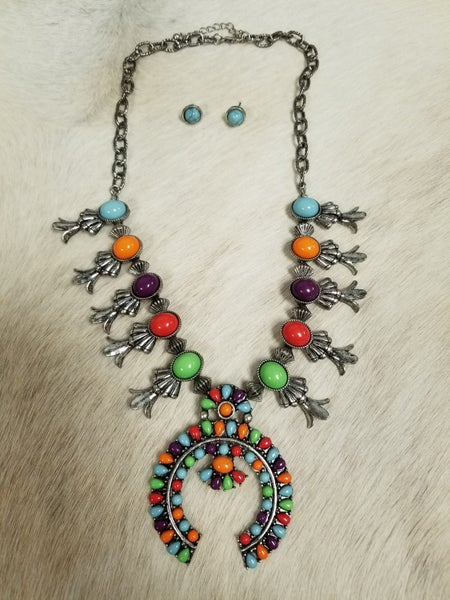 Multi Colored Squash Blossom Necklace and Earring Set