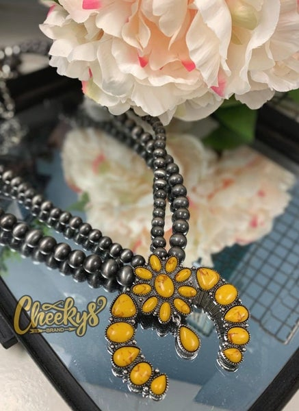 Roselynn Mustard Squash Blossom with Navajo Pearls