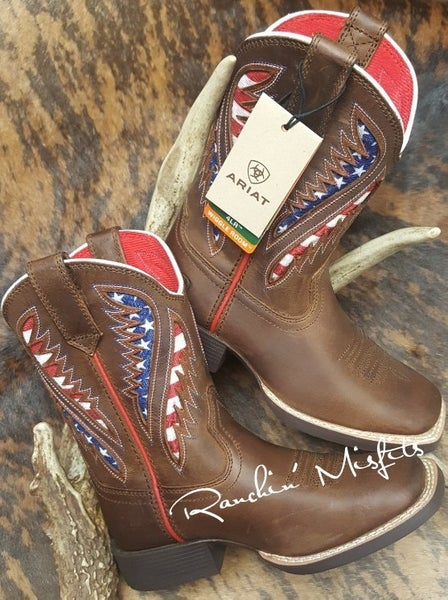 Ariat Youth Quickdraw Ventek Cowboy Brown and American Flag Boot