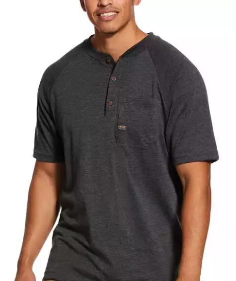 Ariat Men's Charcoal Heather Rebar Cotton Strong Henley Top T-Shirt