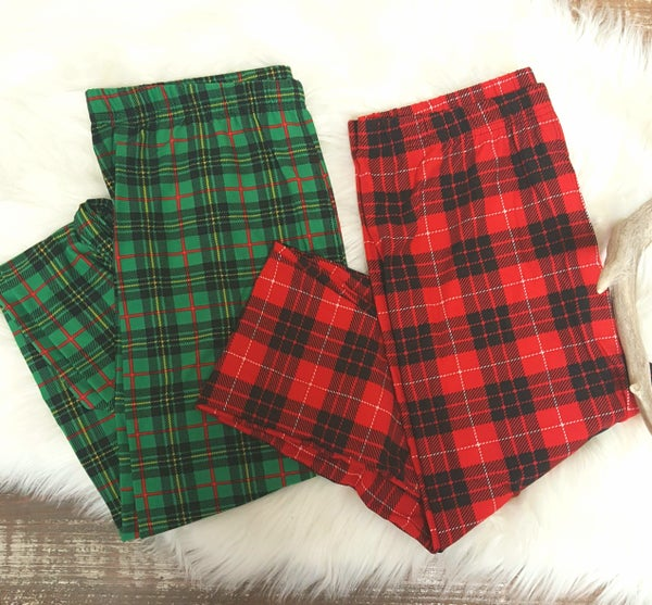 Plaid Print Leggings CURVY