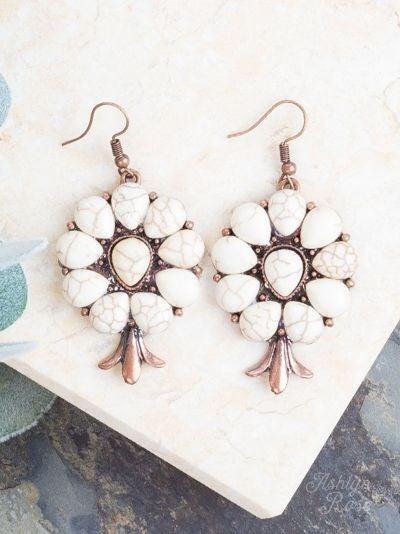 Ivory Stone Flower Earrings
