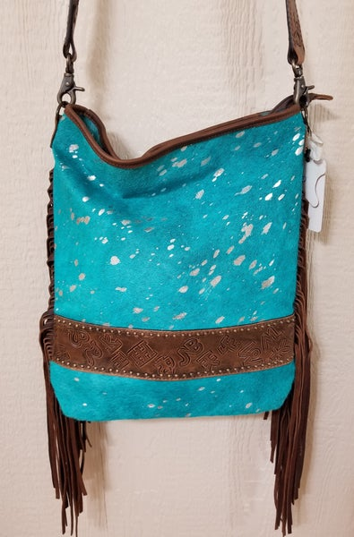 AD Turquoise Acid Wash Cowhide with Brands & Fringe