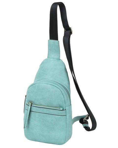Aqua Leatherette Sling Bag