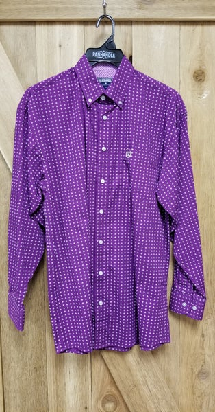 Panhandle Men's Button Down Orchid Print Shirt