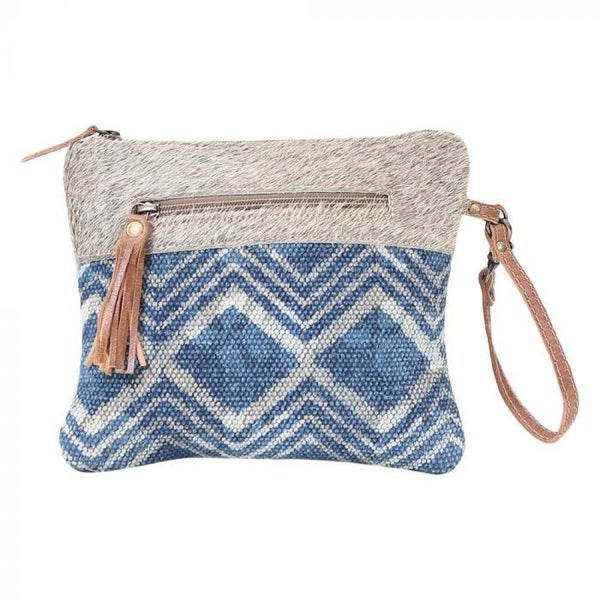 Teal & Hair on Pouch/ Wristlet
