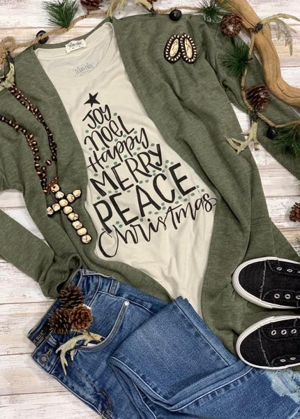 Olive Cardigan & Christmas Tree Joy Noel Tee