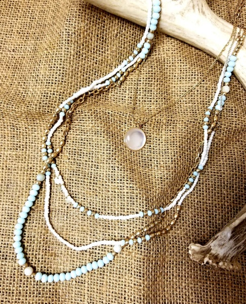 4 Strand Baby Blue Beaded Necklace