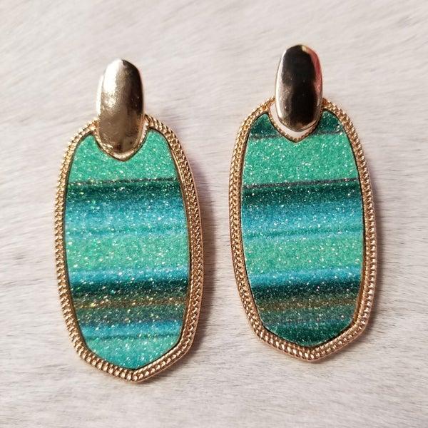 Glitter In Green Serape Necklace & Earring Set