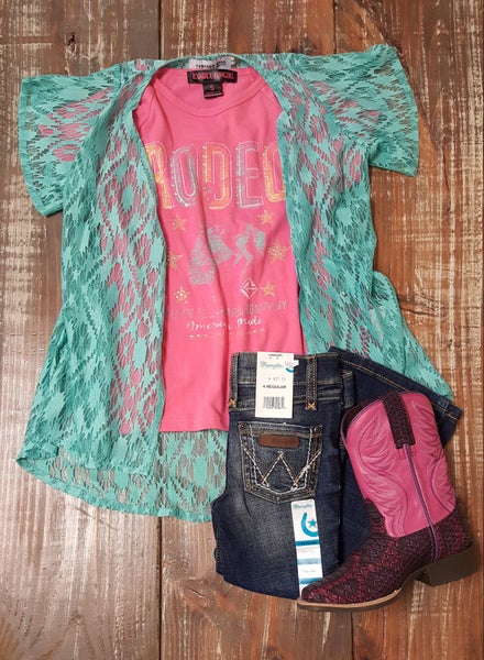 Crazy Train Kids Turquoise Lace Duster