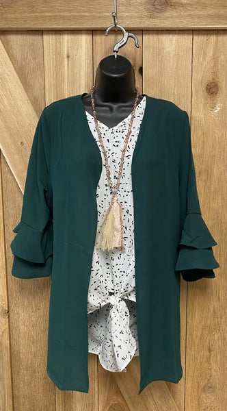 Open Front Green Blazer with Double Ruffle Sleeve