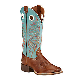 Ariat Women's Round Up Ryder Wood Brown & Sky Blue Double Welt Square Toe Western Boots