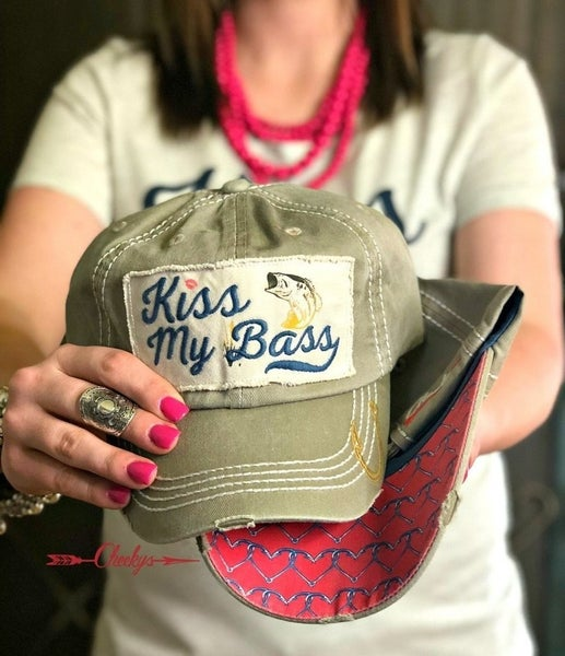 Cheeky's Kiss My Bass Distressed Fabric Cap with Patch Embroidery