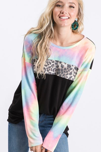 Tie Dye Leopard Color Block Top