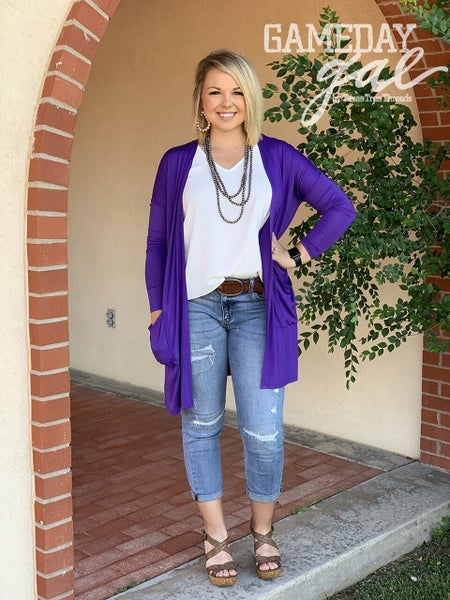 Texas True Purple Cardigan