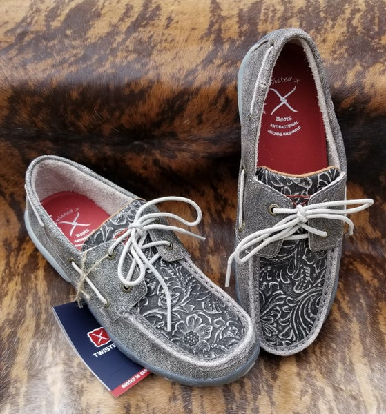 Twisted X Ladies Grey Tooled Boat Shoe Driving Moc