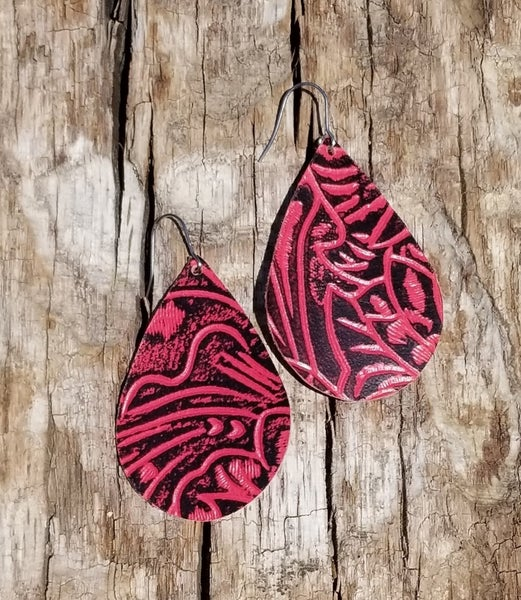 Red Tooled Leather Earrings