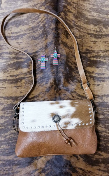 Blossom Etched Leather & Hair On Bag