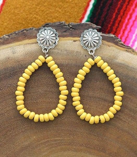 Western Concho Post Teardrop Earrings *6 Colors*