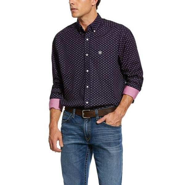 Ariat Men's Wrinkle Free Indham Print Classic Fit Shirt
