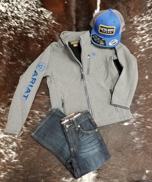 Ariat BOYS 2.0 Logo Softshell Jacket Charcoal/Blue