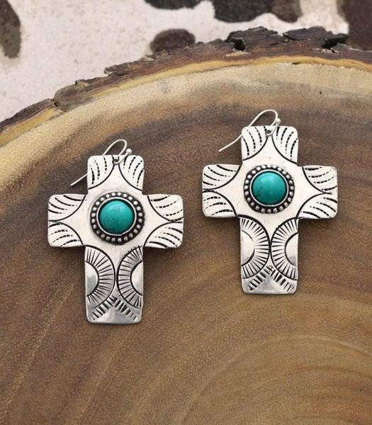 Turquoise Silver Cross Earrings
