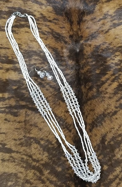 Multi Strand White Bead Necklace and Earring Set