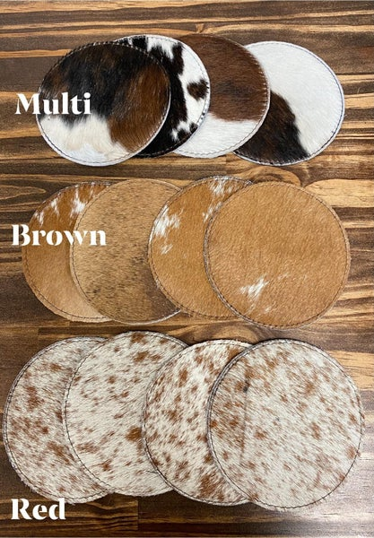Cowhide Coaster Set of 4 *7 Colors*