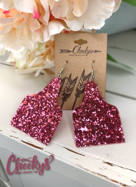 Cow Tag Glitter Earrings *2 Colors*