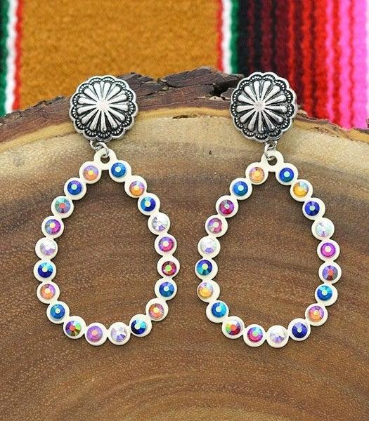 Concho Post Stone Teardrop Hoop Earrings