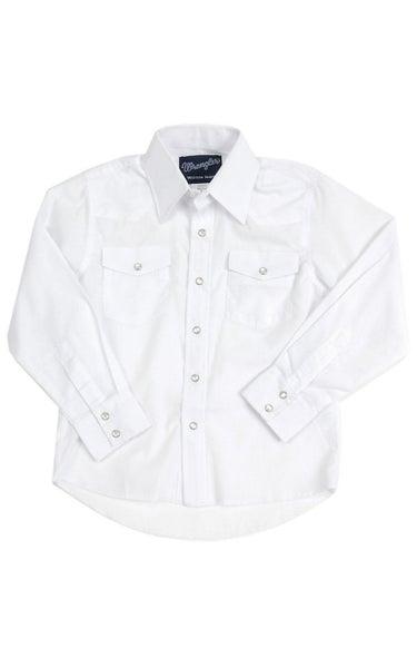 Wrangler YOUTH Classic White Long Sleeve Snap